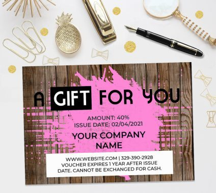 Gift Certificate Template Wood Pink, Gift Voucher Template, Editable Gift Certificate Template, Printable Gift Certificate, Digital Gift Certificate