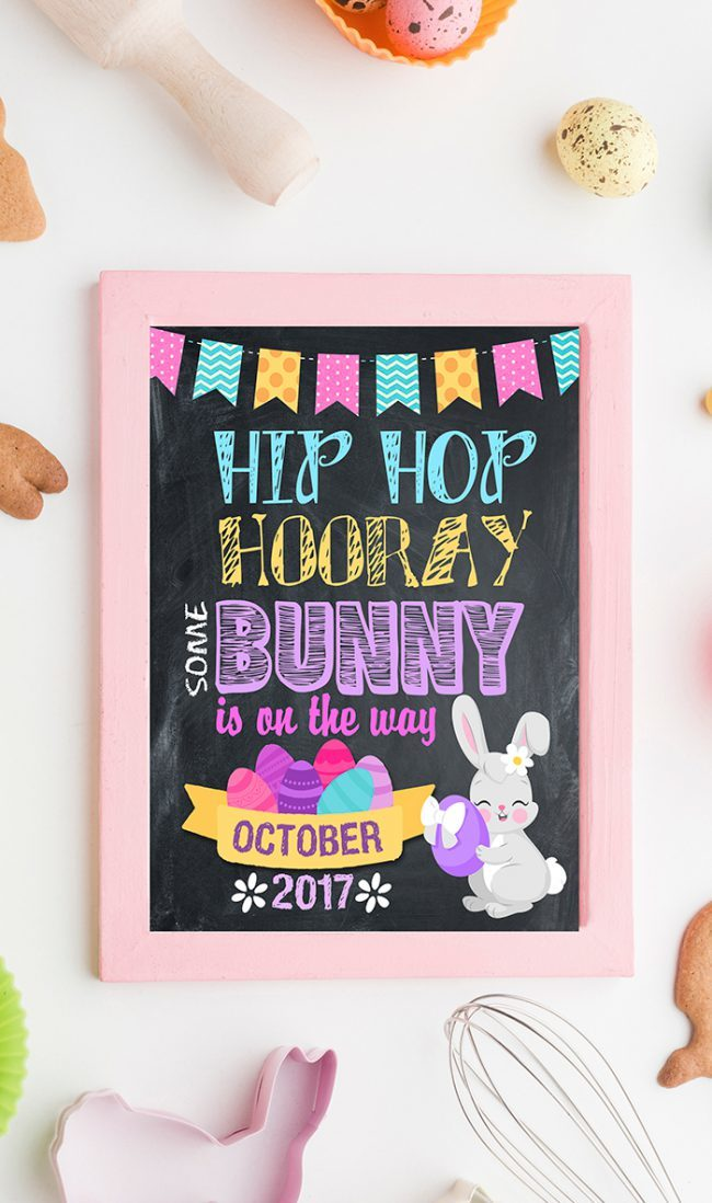Easter Pregnancy Announcement, Easter Baby Sign, announcement, maternity, Pregnancy Reveal easter, Bunny Pregnancy chalkboard Poster