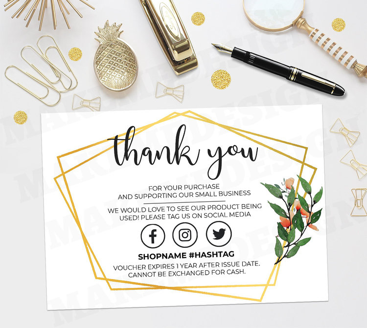 Gold Thank You For Your Order Customer