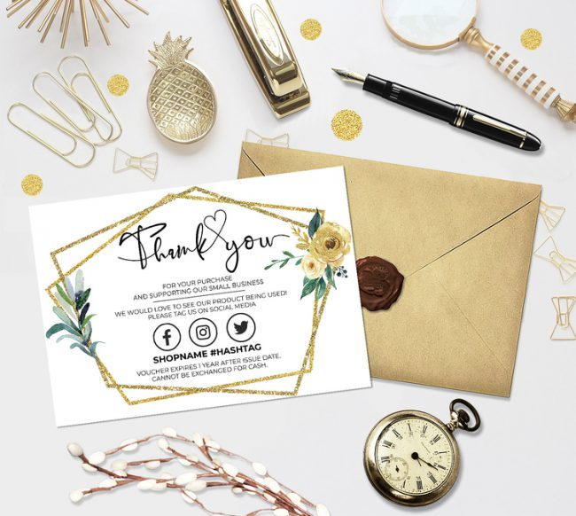Gold Thank You For Your Order, Customer Thank You Card, Small Business Insert card, Printable Insert Card Template, You Edit!