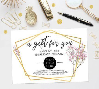 Gift Certificate Template, Gift Voucher Template, Editable Gift Certificate Template, Geometric Gold, Printable Gift Certificate, Digital Gift Certificate