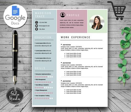 Resume Template Cover Letter and References With Photo, Resume Template  With Photo for Google Docs, Instant Download Resume Red Templates, Minimalist Resume Pages