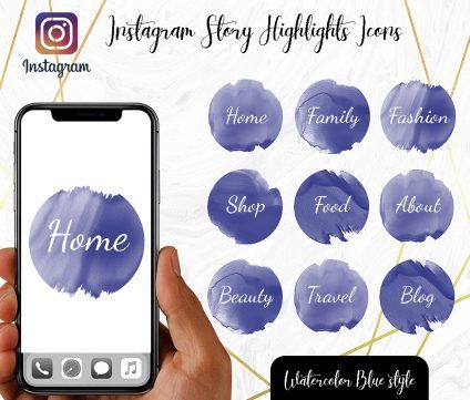 You Edit! Instagram Story Highlight Icons, Custom Instagram Story Highlight Icons 5x, Custom Icons, Blue Icons Instagram Highlight Covers