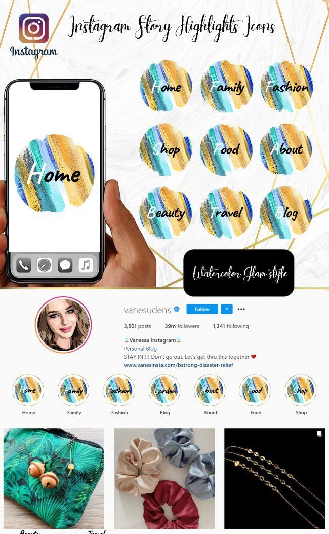 You Edit! Instagram Story Highlight Icons, Custom Instagram Story Highlight Icons 5x, Custom Icons, Watercolor Glam Icons Instagram Highlight Covers