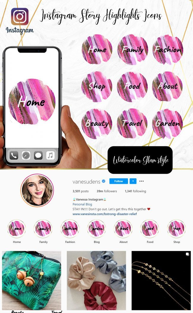 You Edit! Instagram Story Highlight Icons, Custom Instagram Story Highlight Icons 5x, Custom Icons, Pink Glam Icons Instagram Highlight Covers
