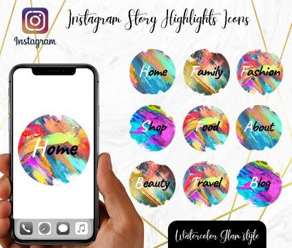 You Edit! Instagram Story Highlight Icons, Custom Instagram Story Highlight Icons 5x, Custom Icons, Rainbow Glam Icons Instagram Highlight Covers