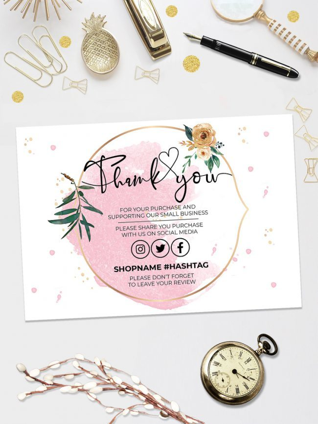 Pink Gold Thank You For Your Order, Customer Thank You Card, Small Business Insert card, Printable Insert Card Template, You Edit!