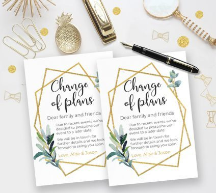 Change Of Plans Template Gold Geometric, Change Of Plans Template, Postponed Wedding, Canceled Wedding, Bridal, Baby Shower Postponed Announcement