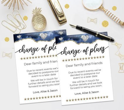 Change Of Plans Template Gold Blue, Change Of Plans Template, Postponed Wedding, Canceled Wedding, Bridal, Baby Shower Postponed Announcement