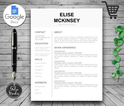 Professional Resume Template for Google Docs, Minimal Resume, Black and White Google Docs Resume Template, Resume and Cover Letter