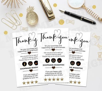 MINI Thank You For Your Order Cards Template, Small Business Insert Card, Customer Thank You, Modern Packaging Insert Card, Instant Download, EDITABLE