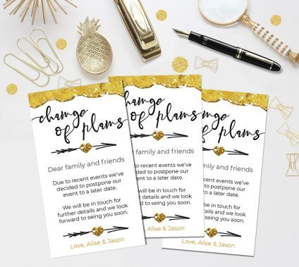 Change Of Plans Template Gold, Change Of Plans Template, Postponed Wedding, Canceled Wedding, Bridal, Baby Shower Postponed Announcement