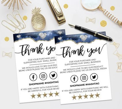Blue Gold Thank You For Your Order, Customer Thank You Card, Small Business Insert card, Printable Insert Card Template, You Edit!