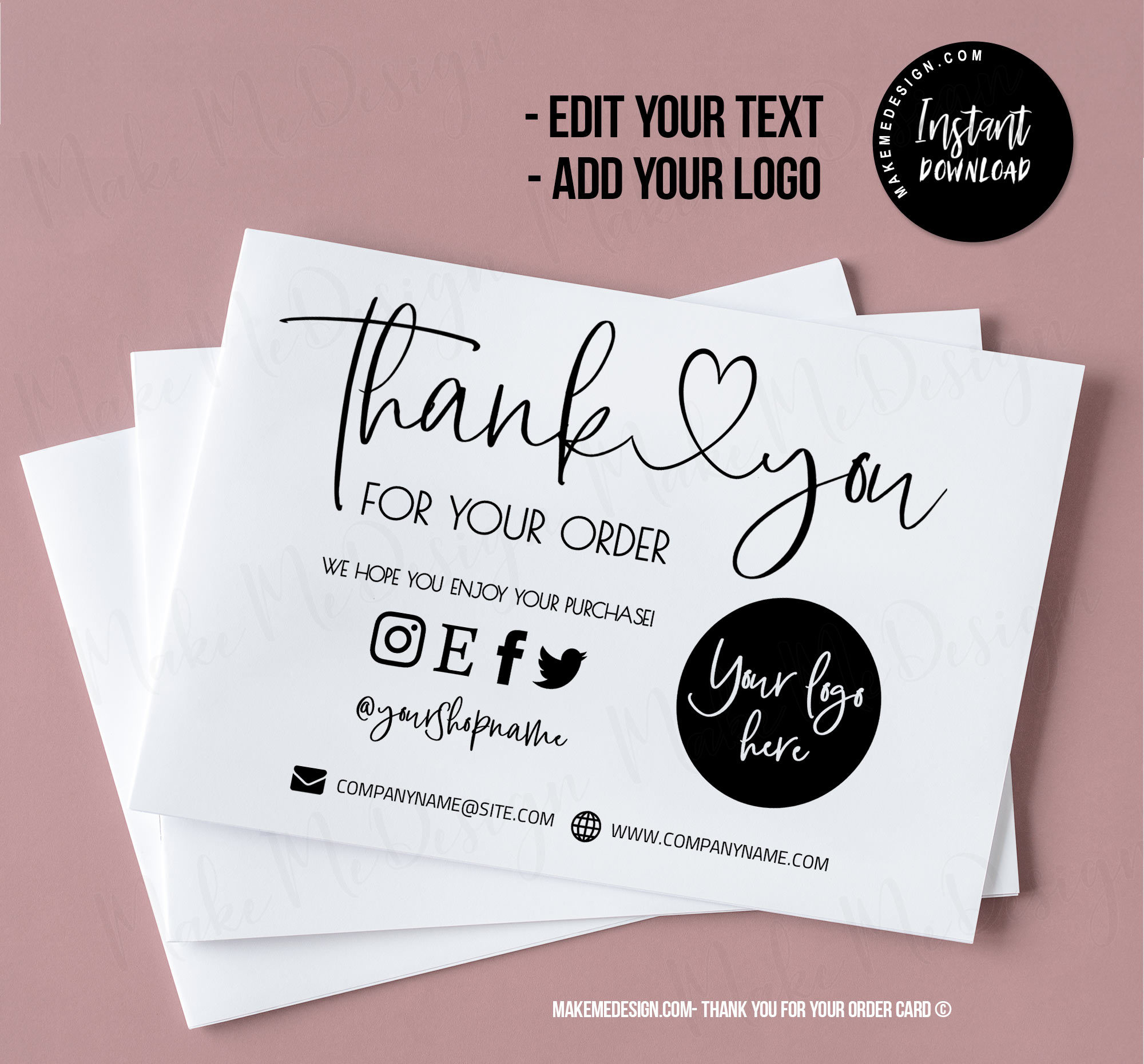 Business Order Insert Print At Home Printable Thank You Cards