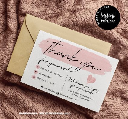 Pink Thank You For Your Order, Small Business Insert card, Thank You Package Insert, Editable Card Template, Printable Insert Card Template