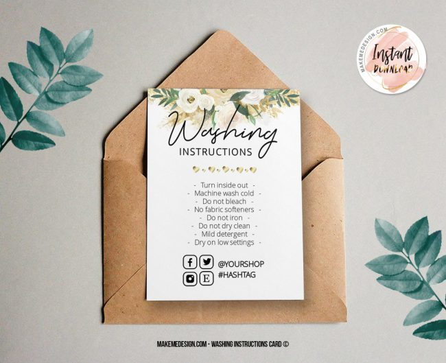 Gold Flowers Washing Instructions, Printable Care Instructions Template, Instant Download, Clothing Care, T-Shirt Washing Instructions