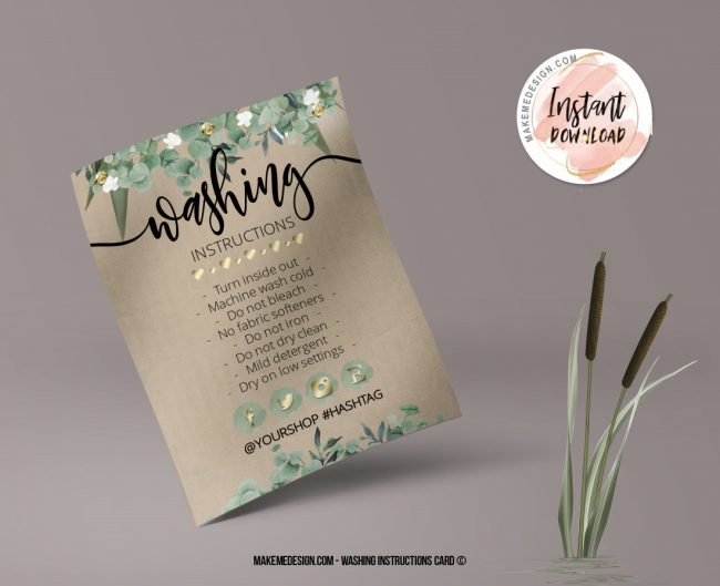 Greenery Washing Instructions, Printable Care Instructions Template, Instant Download, Clothing Care, T-Shirt Washing Instructions