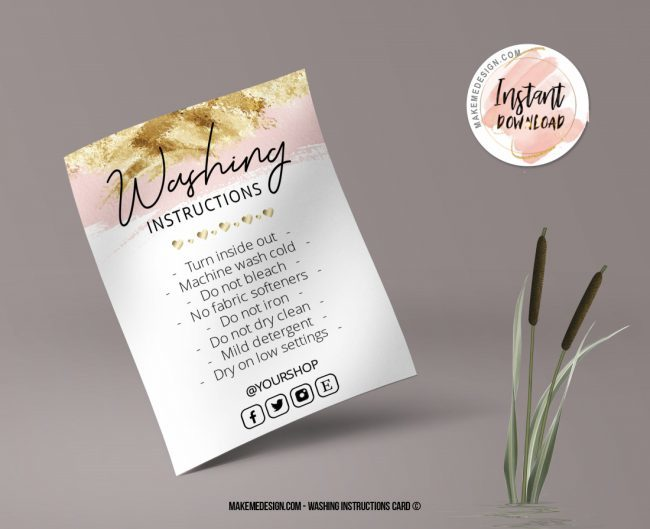 Pink Gold Washing Instructions, Printable Care Instructions Template, Instant Download, Clothing Care, T-Shirt Washing Instructions