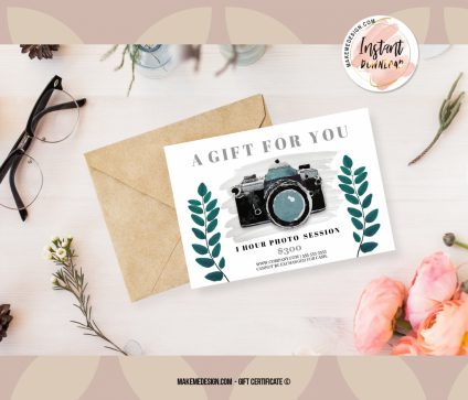 Green Flowers Gift Certificate, Instant Download, Photographer Gift Card Template, Gift Certificate Template, Gift Certificate Printable
