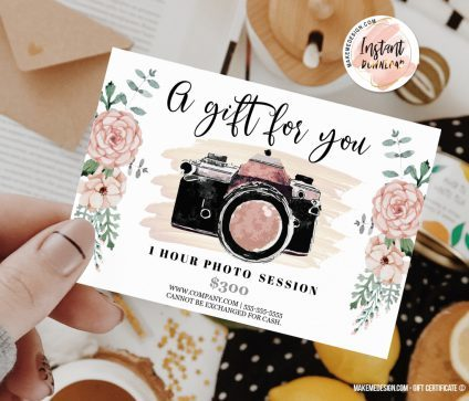Pink Flowers Gift Certificate, Instant Download, Photographer Gift Card Template, Gift Certificate Template, Gift Certificate Printable