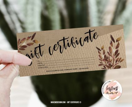 Brown Gift Certificate, Modern Gift Certificate Templates, Editable Certificate, Printable Gift Card, Printable Gift Certificate