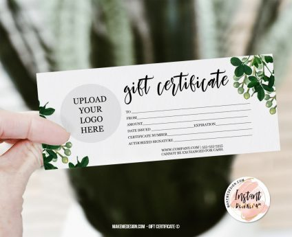 Gift Certificate, Modern Gift Certificate Templates, Editable Certificate, Printable Gift Card, Printable Gift Certificate