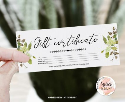 Greenery Gift Certificate, Modern Gift Certificate Templates, Editable Certificate, Printable Gift Card, Printable Gift Certificate
