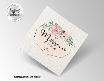 Pink Flowers Logo Design, Printable Business Card, Professional Logo Design, Minimalist Business Cards, Logo for Shop