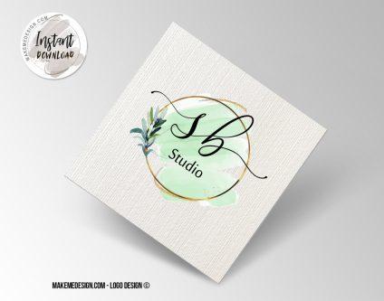 Green Gold Logo Design, Printable Business Card, Professional Logo Design, Minimalist Business Cards, Logo for Shop