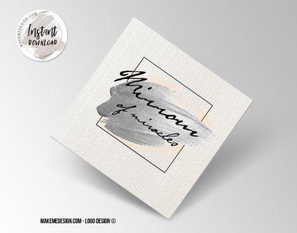 Pink Silver Logo Design, Printable Business Card, Professional Logo Design, Minimalist Business Cards, Logo for Shop