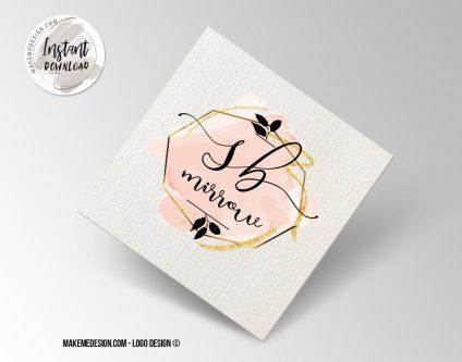 Pink Black Logo Design, Printable Business Card, Professional Logo Design, Minimalist Business Cards, Logo for Shop
