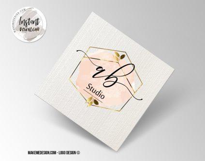Rose Gold Logo Design, Printable Business Card, Professional Logo Design, Minimalist Business Cards, Logo for Shop