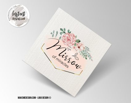 Pink Gold Flowers Logo Design, Printable Business Card, Professional Logo Design, Minimalist Business Cards, Logo for Shop