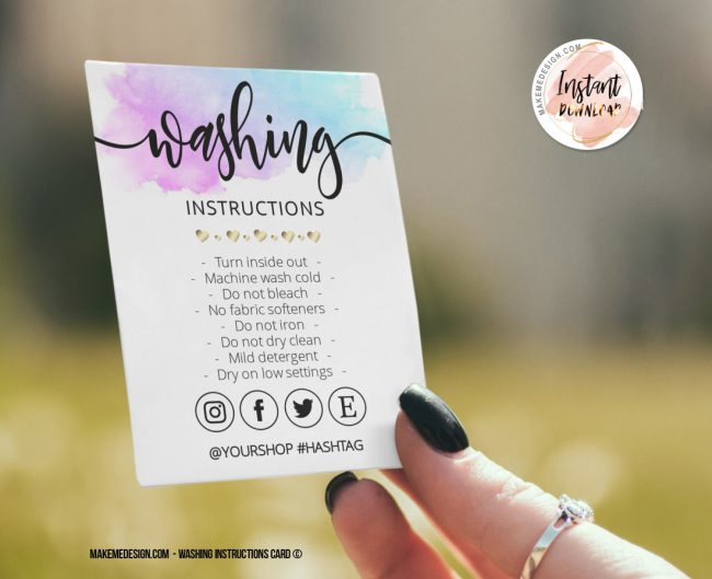 Washing Instructions, Printable Care Instructions Template, Instant Download, Clothing Care, T-Shirt Washing Instructions