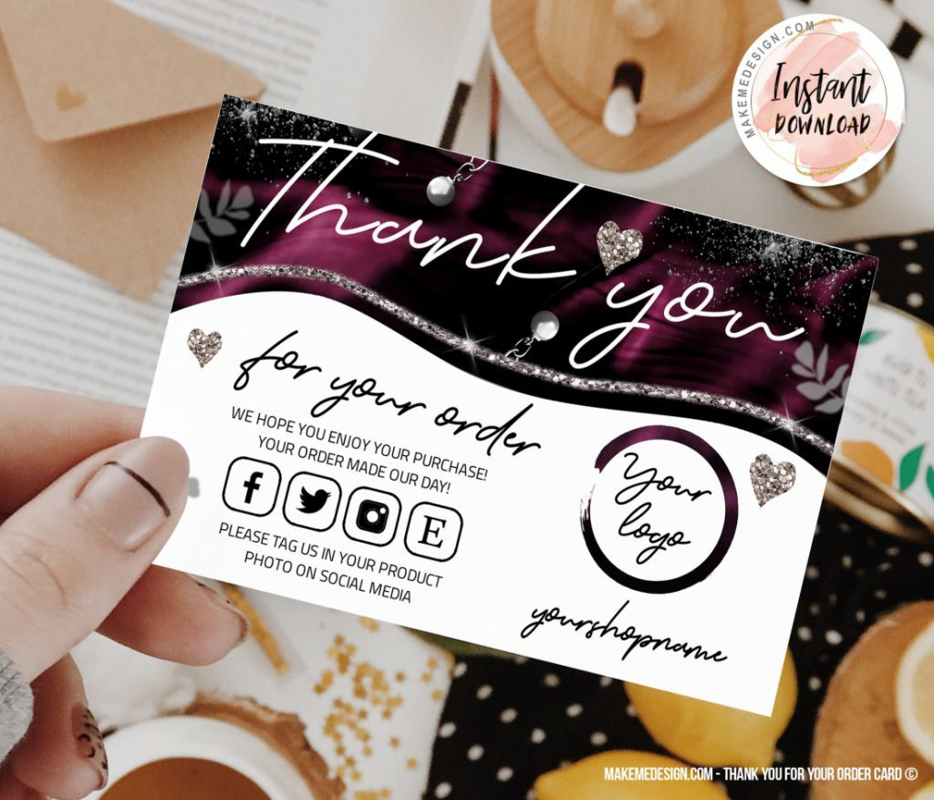 purple thank you for your order business order insert