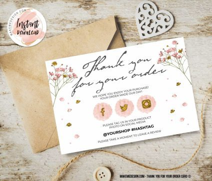 Pink Gold Thank You For Your Order, Small Business Insert card, Ready To Print Thank You Card, Business Order Insert Template, Modern Packaging Insert Card