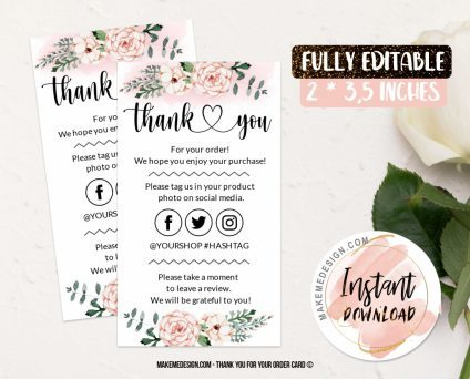Pink Flowers Thank You For Your Order, Business Order Insert Template, Business Thank You Card Template, Modern Packaging Insert Card, Editable Card Template