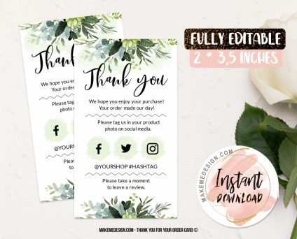 Greenery Thank You For Your Order, Thank You Package Insert, Printable Insert Card Template, Business Thank You Card Template, Modern Packaging Insert Card
