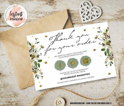 Greenery Gold Thank You For Your Order, Thank You Card, Printable Insert Card Template, Ready To Print Thank You Card, Business Order Insert Template