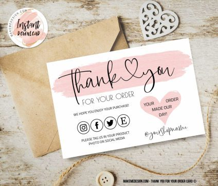 Pink Thank You For Your Order, Ready To Print Thank You Card, Small Business Insert card, Thank You Card, Editable Card Template