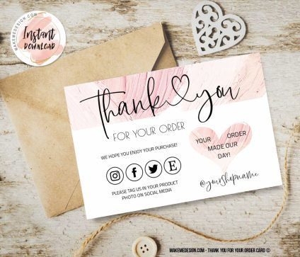 Pink Thank You For Your Order, Ready To Print Thank You Card, Small Business Insert card, Thank You Card, Business Order Insert Template