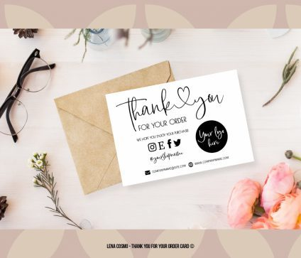 Modern Thank You For Your Order, Small Business Insert card, Printable Insert Card Template, Thank You Package Insert, Business Thank You Card Template