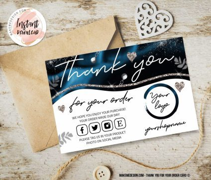 Turquoise Thank You For Your Order, Business Order Insert Template, Thank You Package Insert, Business Thank You Card Template, Small Business Insert card