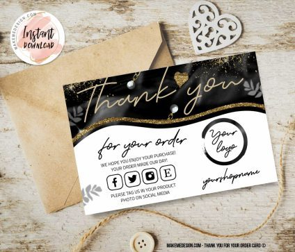Black Gold Thank You For Your Order, Thank You Card, Ready To Print Thank You Card, Business Order Insert Template, Printable Insert Card Template