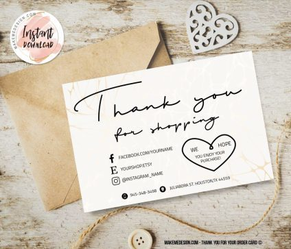 Modern Thank You For Your Order, Business Order Insert Template, Modern Packaging Insert Card, Printable Insert Card Template, Thank You Package Insert