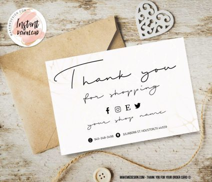 Minimal Thank You For Your Order, Business Order Insert Template, Editable Card Template, Small Business Insert card, Ready To Print Thank You Card