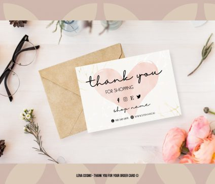 Pink Thank You For Your Order, Business Order Insert Template, Modern Packaging Insert Card, Thank You Card, Printable Insert Card Template