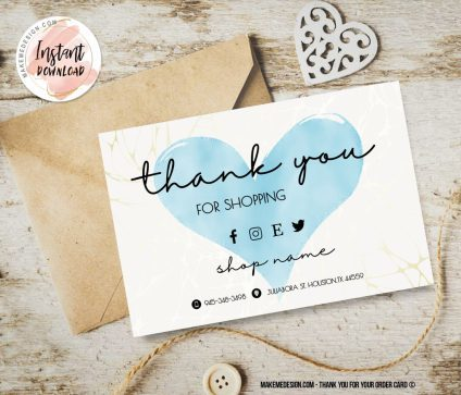 Blue Heart Thank You For Your Order, Business Order Insert Template, Business Thank You Card Template, Ready To Print Thank You Card, Small Business Insert card