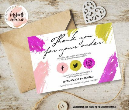 Rainbow Thank You For Your Order, Small Business Insert card, Printable Insert Card Template, Editable Card Template, Thank You Card