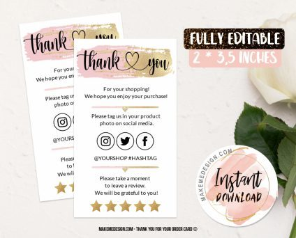 Pink Gold Thank You For Your Order, Ready To Print Thank You Card, Business Order Insert Template, Business Thank You Card Template, Thank You Card